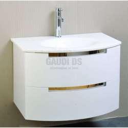Долен PVC шкаф 80 см с бяла стъклена мивка, конзолен ,бял gds_pvc_ICP8064