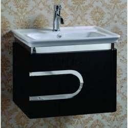 Долен PVC шкаф 59 см с порцеланова мивка, конзолен , черно-бял gds_pvc_ICP4660B