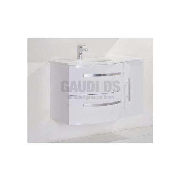 Долен PVC шкаф100 см с каменна мивка, конзолен ,бял gds_pvc_ICP10061WS