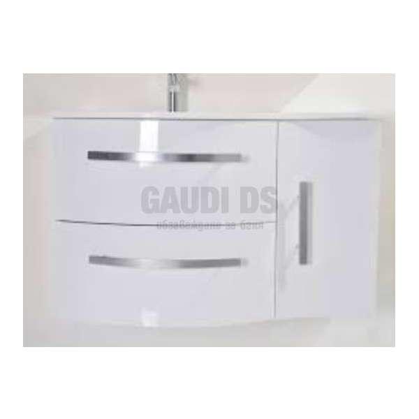Долен PVC шкаф100 см със стъклена мивка, конзолен ,бял gds_pvc_ICP10061W