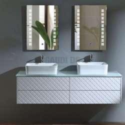 Двоен долен PVC шкаф Beauty 156 см, бял стъклен плот, конзолен 1