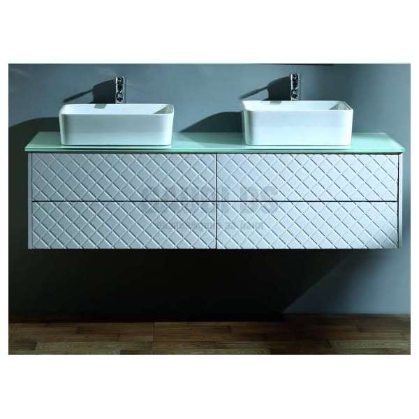 Двоен долен PVC шкаф Beauty 156 см, бял стъклен плот, конзолен gds_pvc_ICP15048