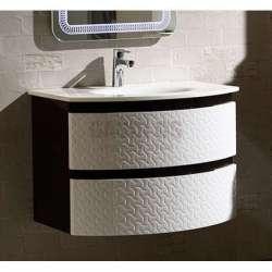 Долен PVC шкаф 80 см със стъклена мивка, конзолен , черно-бял gds_pvc_ICP8055B