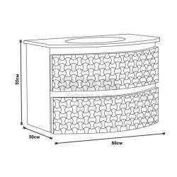 Долен PVC шкаф 80 см със стъклена мивка, конзолен , черно-бял 2