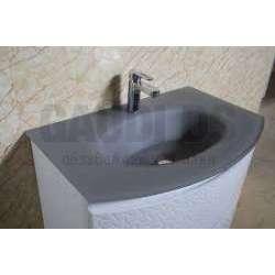 Долен PVC шкаф 80 см със сива стъклена мивка, конзолен, бял 1