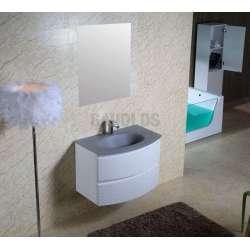 Долен PVC шкаф 80 см със сива стъклена мивка, конзолен, бял gds_pvc_ICP8055
