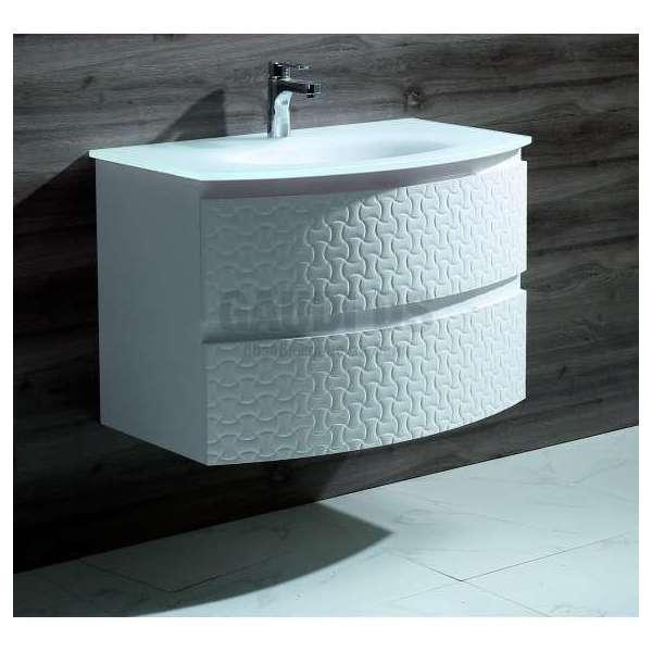 Долен PVC шкаф 80 см със стъклена мивка, конзолен, бял gds_pvc_ICP8055W