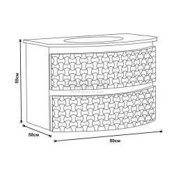 Долен PVC шкаф 80 см със стъклена мивка, конзолен, бял 2