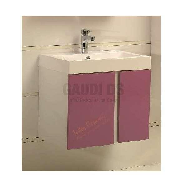 Долен PVC шкаф 60,8 см с мивка, конзолен, лилав gds_pvc_ICP6087Purple