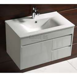 Долен PVC шкаф Betty 76 см с мивка, конзолен, бял 2
