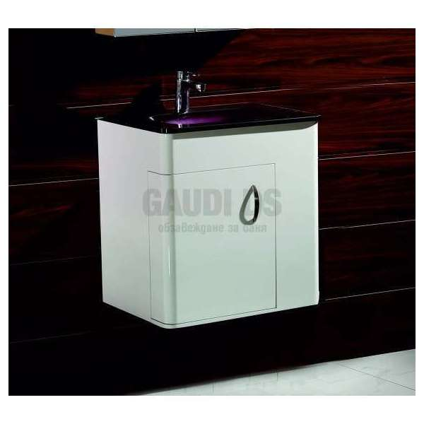 Долен PVC шкаф 60 см с лилава стъклена мивка, конзолен, бял gds_pvc_ICP5560P
