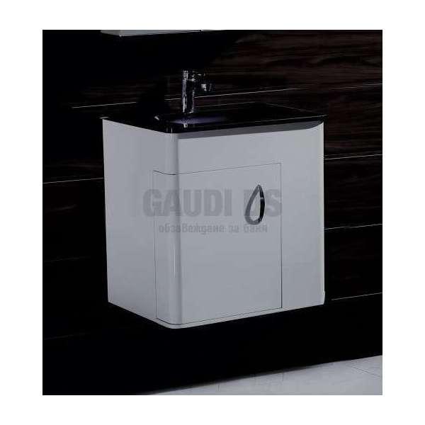 Долен PVC шкаф 60 см с черна стъклена мивка, конзолен, бял gds_pvc_ICP5560B