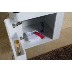 Долен PVC шкаф 60 см с черна стъклена мивка, конзолен, бял 2