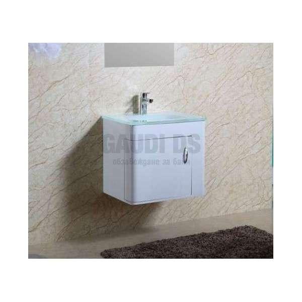 Долен PVC шкаф 60 см с бяла стъклена мивка, конзолен, бял gds_pvc_ICP5560W