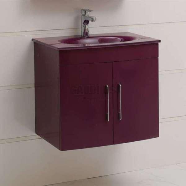 Долен PVC шкаф Kaya 60 см с лилава стъклена мивка, конзолен, лилав gds_pvc_ICP6092P