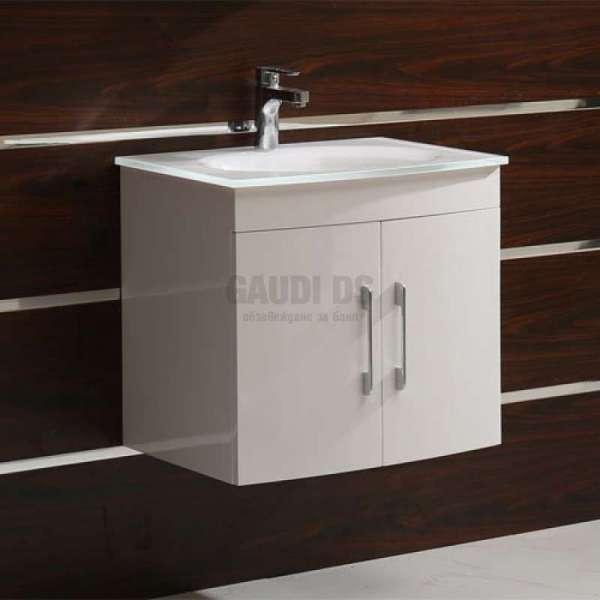 Долен PVC шкаф Kaya 60 см с бяла стъклена мивка, конзолен, бял gds_pvc_ICP6092W