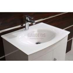 Долен PVC шкаф Kaya 60 см с бяла стъклена мивка, конзолен, бял 2