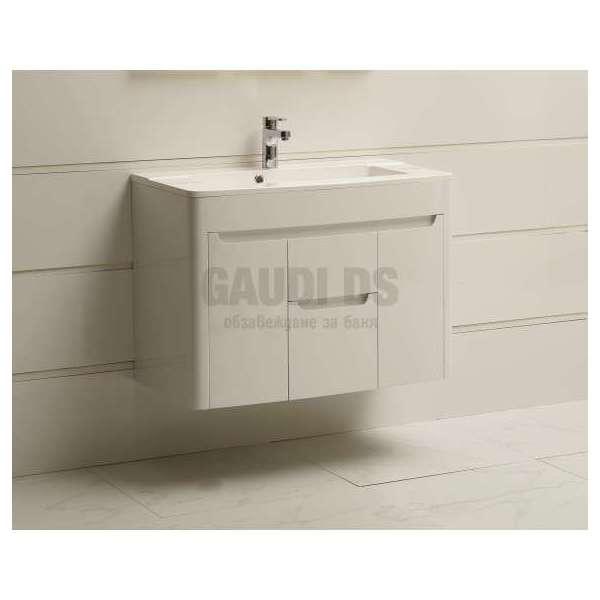 Долен PVC шкаф Savana 85 см с мивка от смола, конзолен, бял gds_pvc_ICP8562