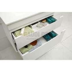 Долен PVC шкаф Melani 76 см с мивка, конзолен, бял 2