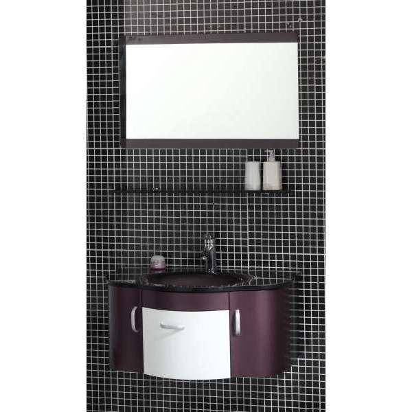 Комплект Struma PVC - шкаф 80 см стъклена мивка, огледало, лилаво-бял gds_pvc_ICP134