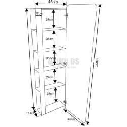 Огледаална колона PVC бяла, конзолна 45х17х160 см 2