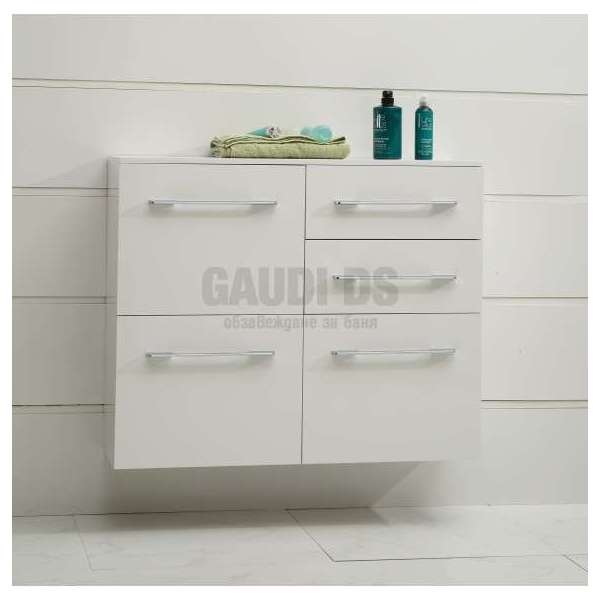 Двойна колона PVC бяла, конзолна 100х30х81,5 см с кош за пране gds_pvc_ICP10030