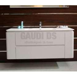 Долен PVC шкаф 140 см с мивка iStone, конзолен, бял