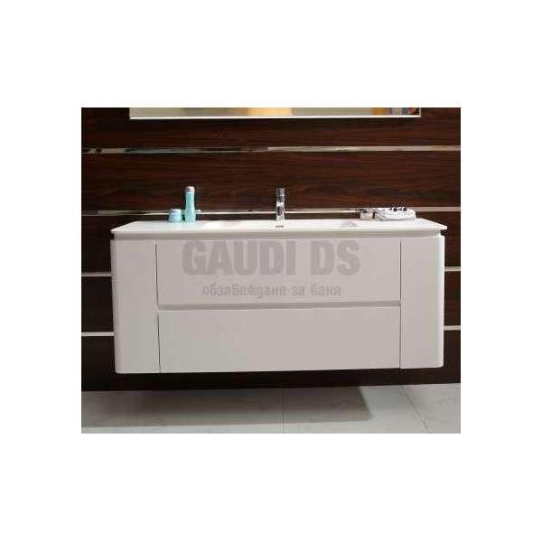 Долен PVC шкаф 140 см с мивка iStone, конзолен, бял gds_ICP14060