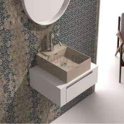 Долен шкаф 60 см бял с мивка купа iStone капучино мат gds_ICP6029/38338C