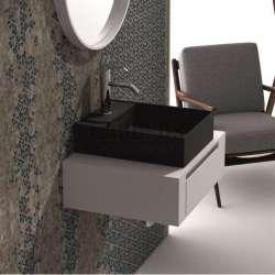 Долен шкаф 60 см бял с мивка купа iStone черен мат gds_ICP6029/38338B