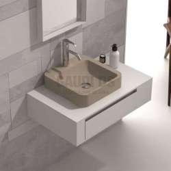 Долен шкаф 80 см бял с мивка купа iStone капучино мат gds_ICP8029/3861C