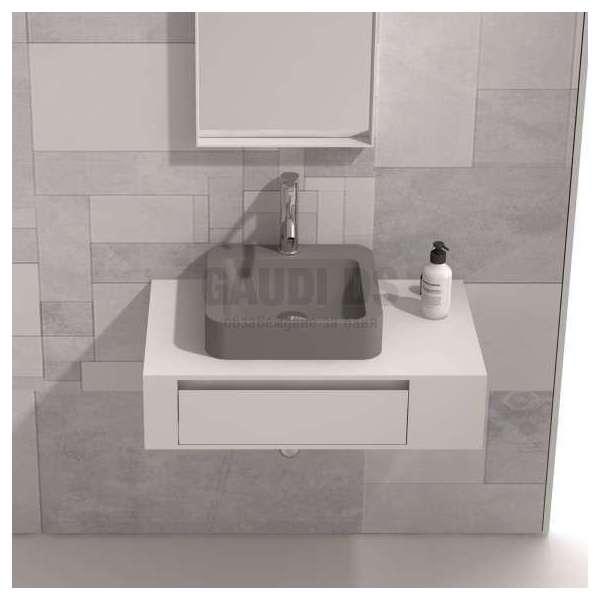 Долен шкаф 80 см бял с мивка купа iStone сив мат gds_ICP8029/3861G