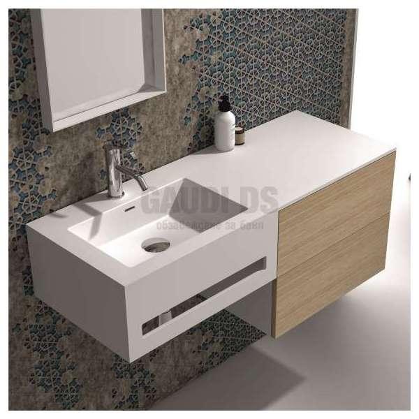 Долен шкаф 120 см бял с мивка от iStone и дъб gds_ICP12083L/R