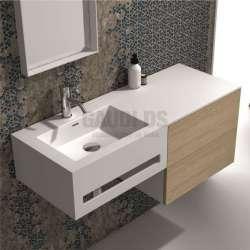 Долен шкаф 100 см бял с мивка от iStone и дъб gds_ICP10083L/R