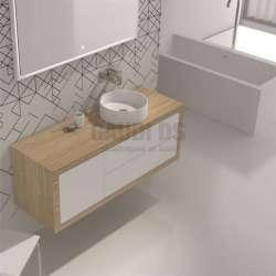 Долен шкаф 140 см от iStone и дъб - за мивка тип купа gds_ICC14046