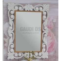 Огледало за баня с рамка от масив липа 70х90 см, бял мат gds_ICM7206W
