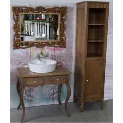 Огледало за баня с рамка от масив дъб 70х90 см, натурален дъб 2