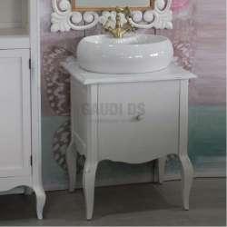 Ретро долен шкаф 60 см от масив липа - за мивка тип купа, бял мат gds_ICP6073w