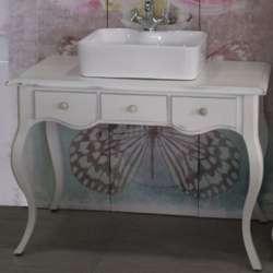Ретро долен шкаф 100 см от масив липа - за мивка тип купа, бял мат gds_ICP10072W