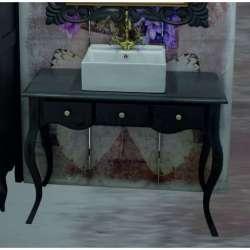Ретро долен шкаф 100 см от масив липа - за мивка тип купа, сив мат gds_ICP10074