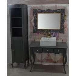 Ретро долен шкаф 100 см от масив липа - за мивка тип купа, сив мат 2