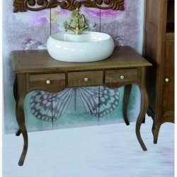 Ретро долен шкаф 100 см от масив дъб - за мивка тип купа, натурален дъб gds_ICP10073
