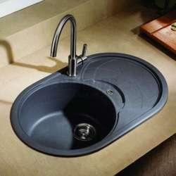 Гранитна кухненска мивка за вграждане, овална 78 см, черна gds_ICGS 8310black