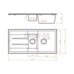 Гранитна кухненска мивка за вграждане, 100 см, сива 2