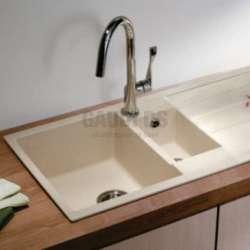 Гранитна кухненска мивка за вграждане, 100 см, пясъчна 1