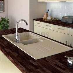 Гранитна кухненска мивка за вграждане, 100 см, пясъчна gds_ICGS 8201sand