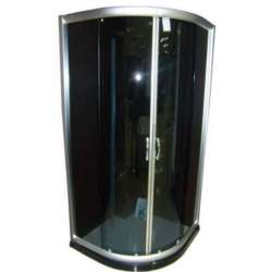 Овална душ кабина Puma комплект 90х90 черно стъкло gds_ICS 107G