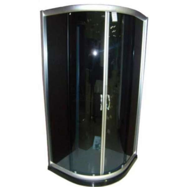 Овална душ кабина Puma комплект 80х80 черно стъкло gds_ICS 107G/80