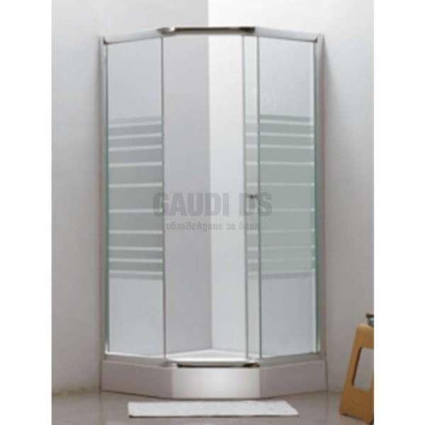 Петоъгълна душ кабина комплект 90х90, рисувано стъкло gds_ICS 169