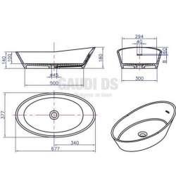 Овална мивка за плот 67 см от iStone, сива 2